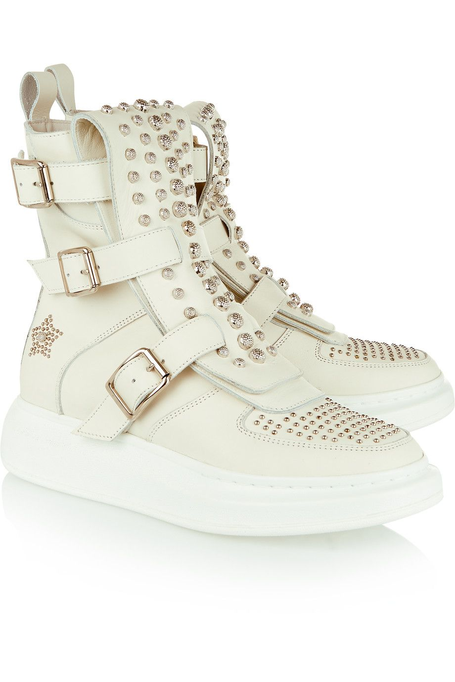 Shop on-sale Alexander McQueen Studded leather exaggerated-sole high-top  sneakers. Browse other discount designer Sneakers   more on The Most  Fashionable ... 953de8a72cb8