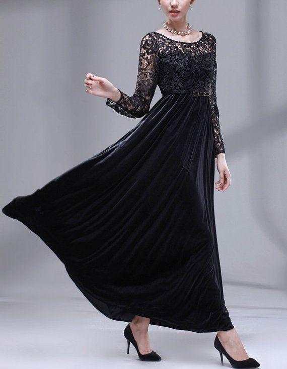 fd2d6f81ca7 Black Lace Dress Maxi Dress Velvet Dress Long sleeves Winter Dress Vintage  style Elegant Wedding Prom Party Dress