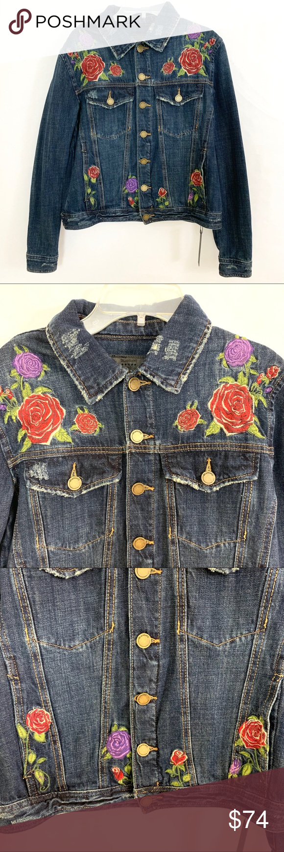 Blank Nyc Embroidered Distressed Rose Jean Jacket Rose Jeans Distressed Denim Jacket Blank Nyc [ 1740 x 580 Pixel ]