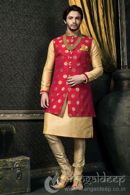 201ef9a58b Mens Pink And Cream Dupion Art Silk Wedding Sherwani | Things to ...