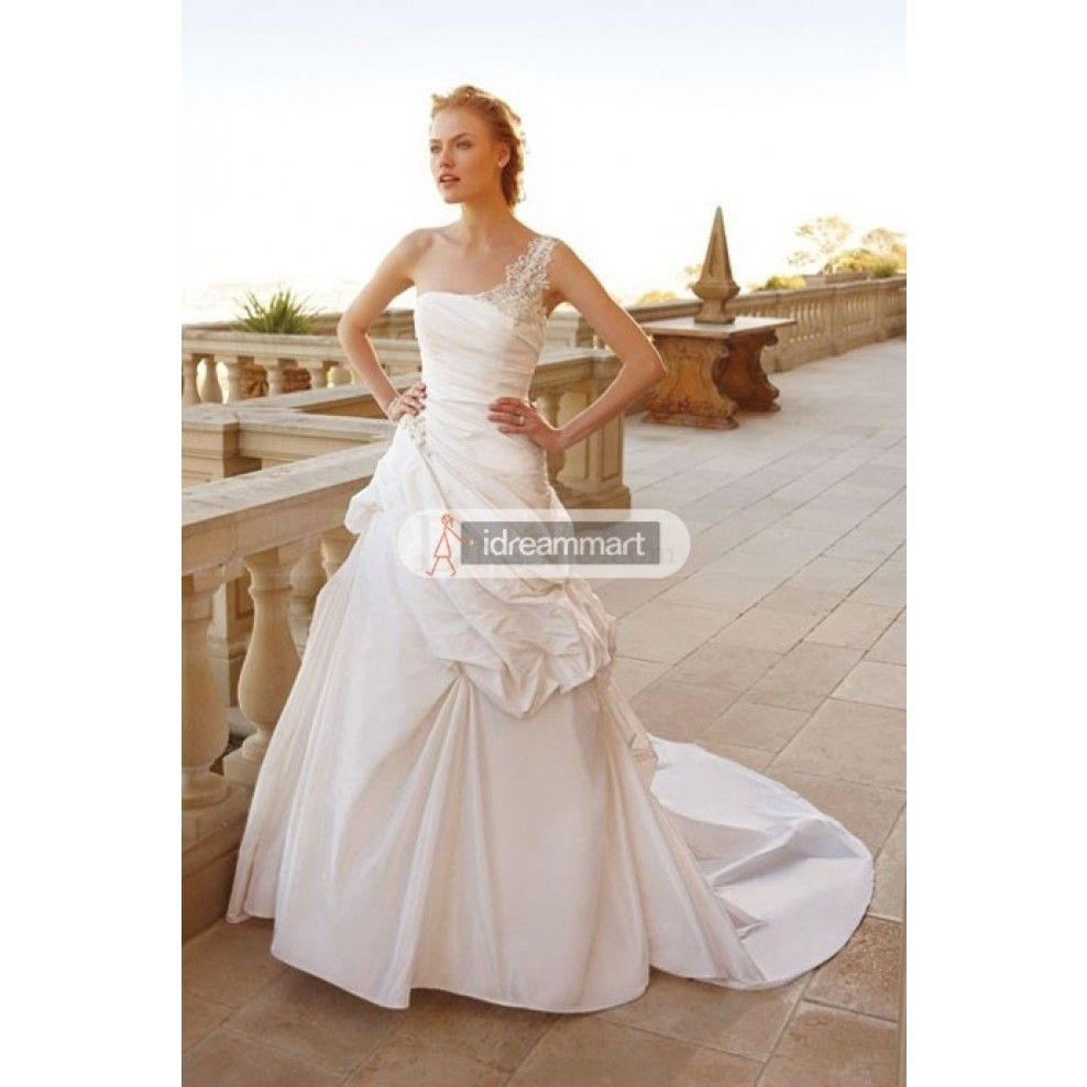 Timeless wedding dresses  Attractive White Satin Oneshoulder Wedding Gown with Pickups
