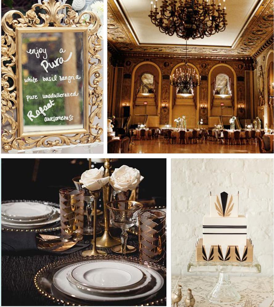 Gold silver black red art deco wedding gilded for Wedding reception bathroom ideas