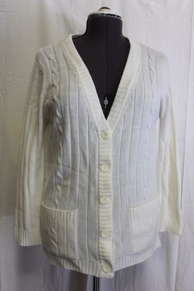 Details about LeRoy Knitwear White Knit Button Down Cardigan ...