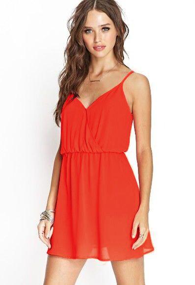 Orange Spaghetti Strap Slim Backless Dress - Sheinside.com
