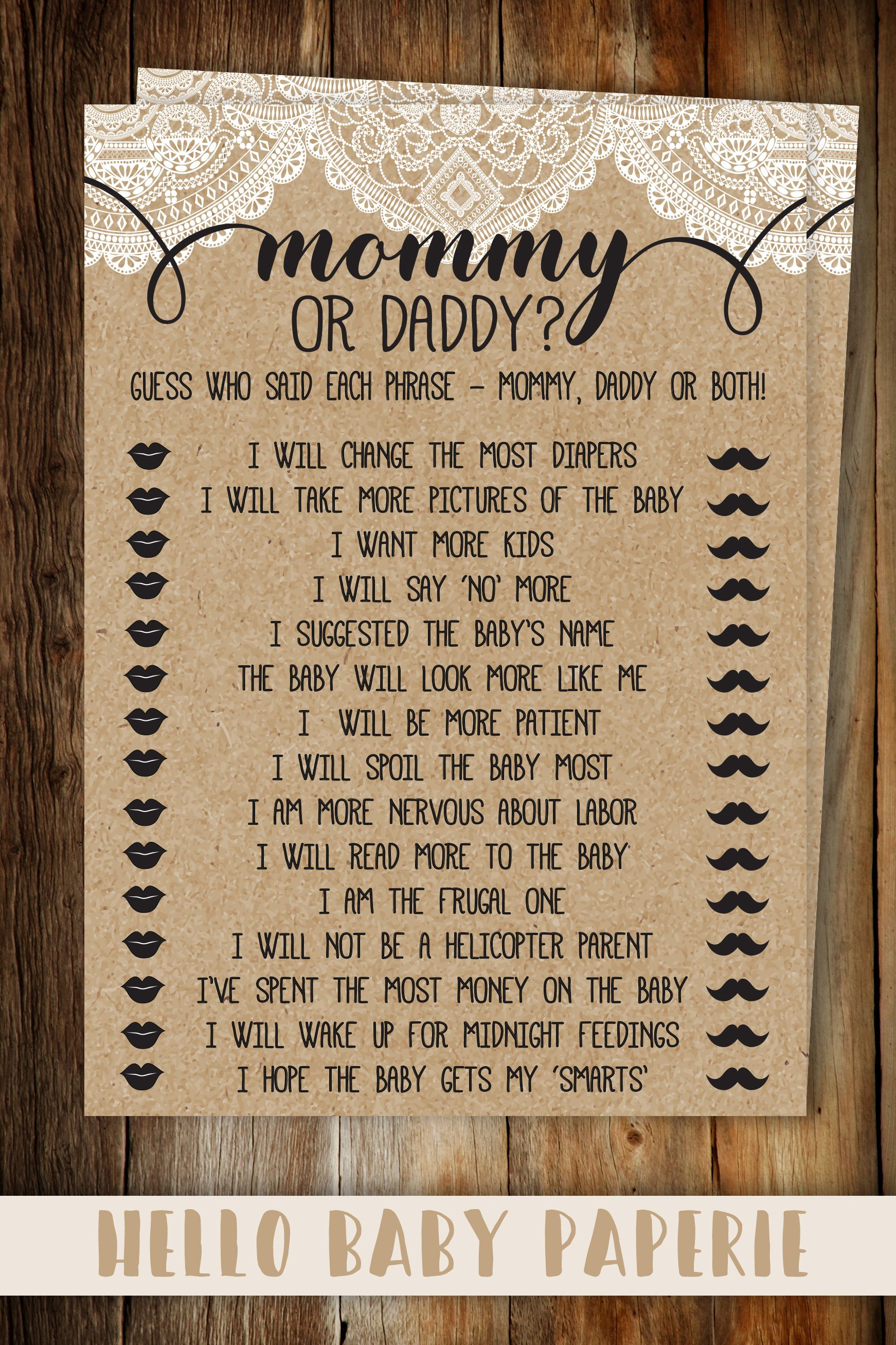 cb3d77b28a684 Burlap and Lace He Said She Said Baby Shower Game, Rustic Baby ...