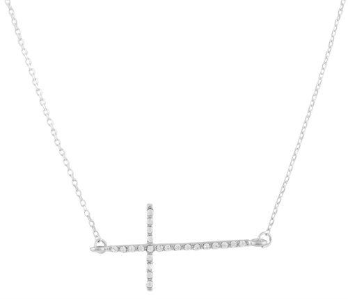 $6.95-	#Silver	#with	#Clear	#Iced	#Out	#Thin	#Sideways	#Cross	#with	#a	#18	#Inch	#Link	#Necklace
