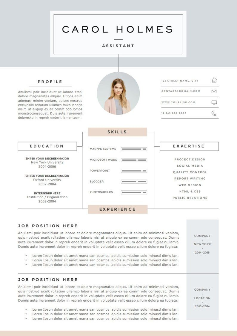 5 Page Resume Template And Cover Letter References Template Etsy Resume Design Creative Resume Resume Template