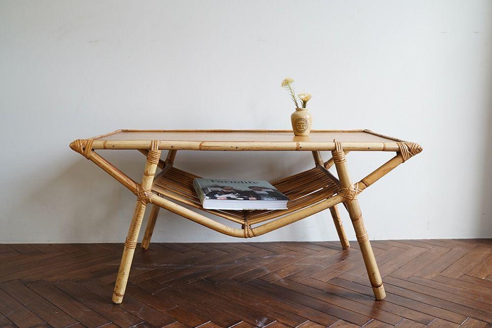 ラタン の ロー テーブル