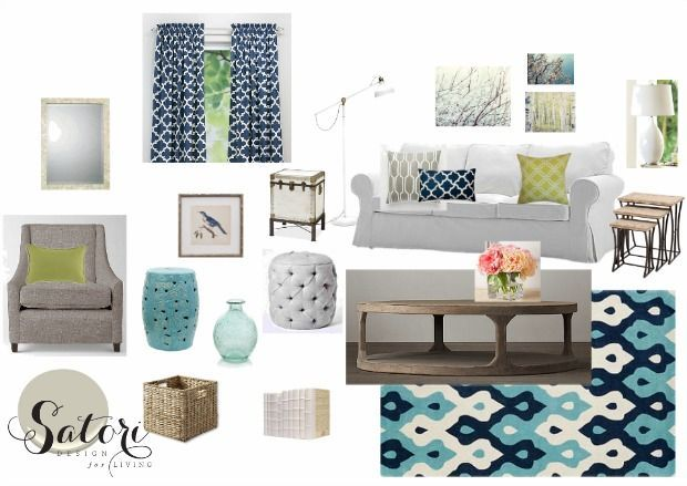 Blue And White Living Room Mood Board With Furniture Decor Satori Design For