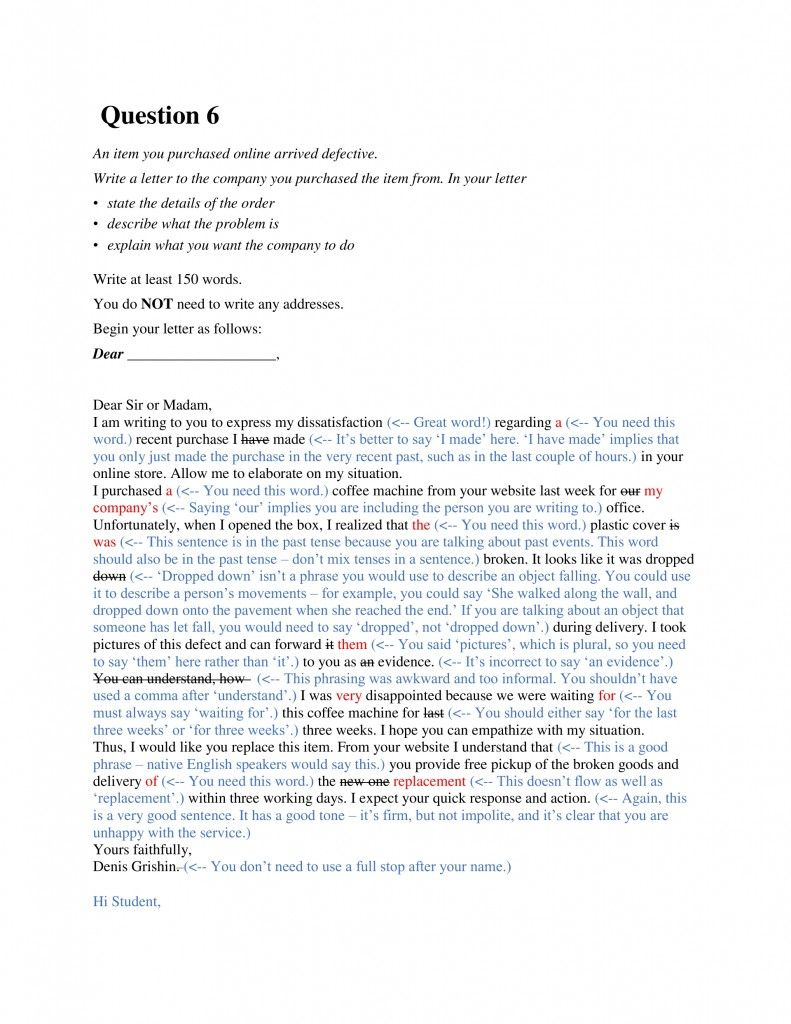IELTS General Writing Task 1 An item you ordered arrived