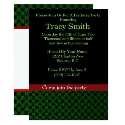 Homemade Gift Vouchers Templates Green And Black Damask Birthday #2 Card  Damasks