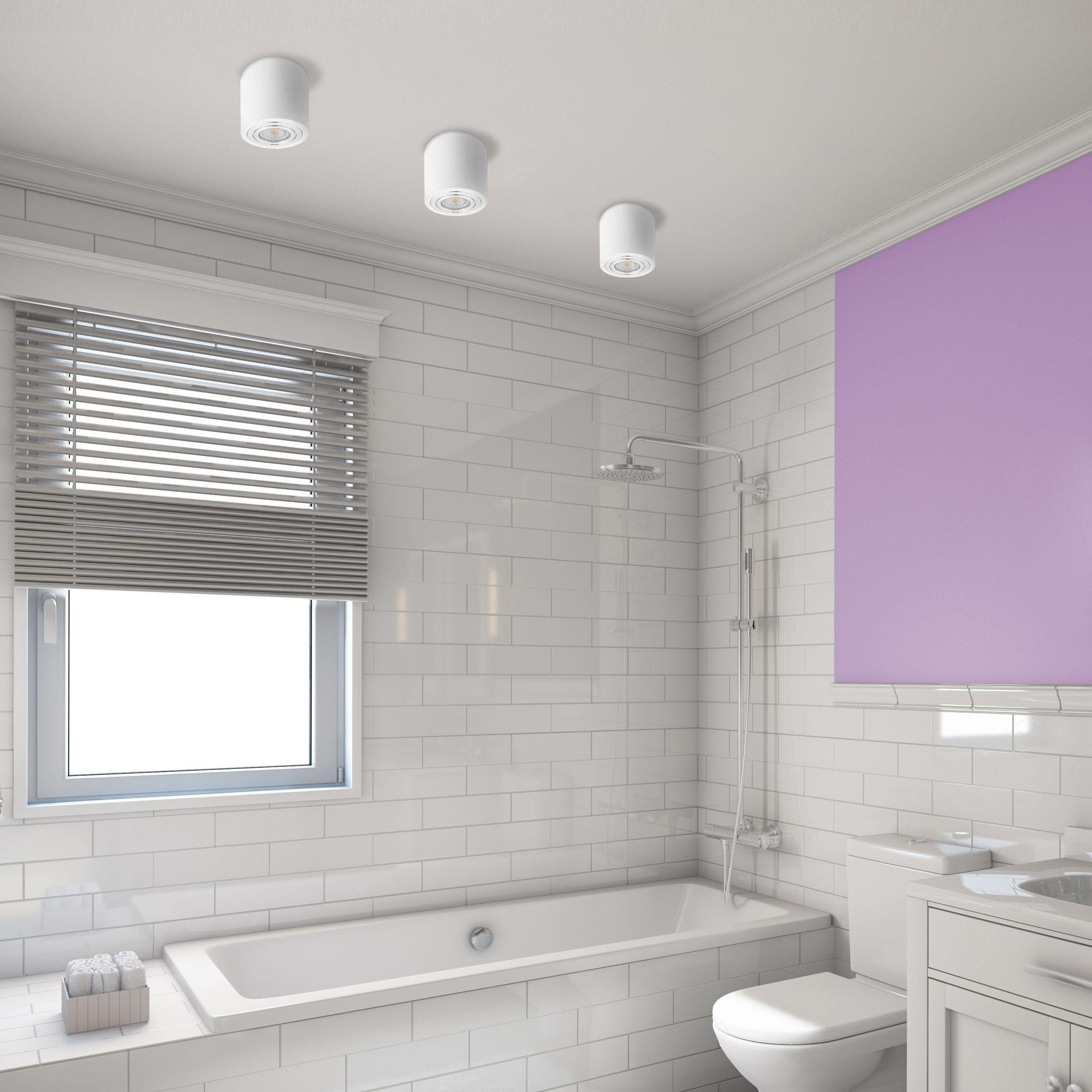 Led Deckenleuchte Bad Ip44 Inkl Led Gu10 6w Warmweiss Aufbauspot In Weiss Rund Led Deckenleuchte Bad Badbeleuchtung Deckenleuchte Bad