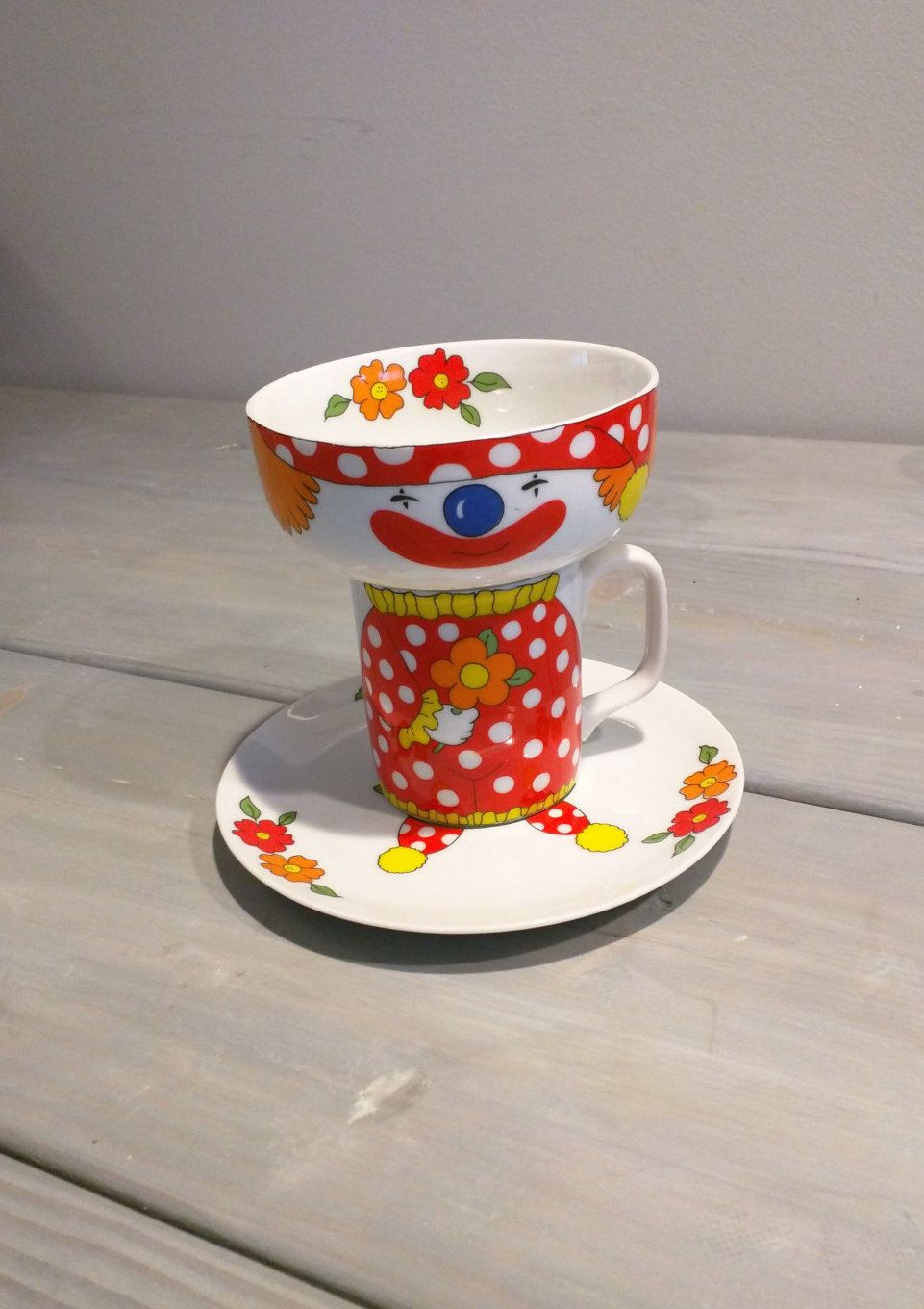Vintage Children S Dishes Child S Stacking Dish Set Collectable Clown Vintage Clown Stacking Plate Bowl Mug Set Chi Childrens Dishes Vintage Clown Dish Sets