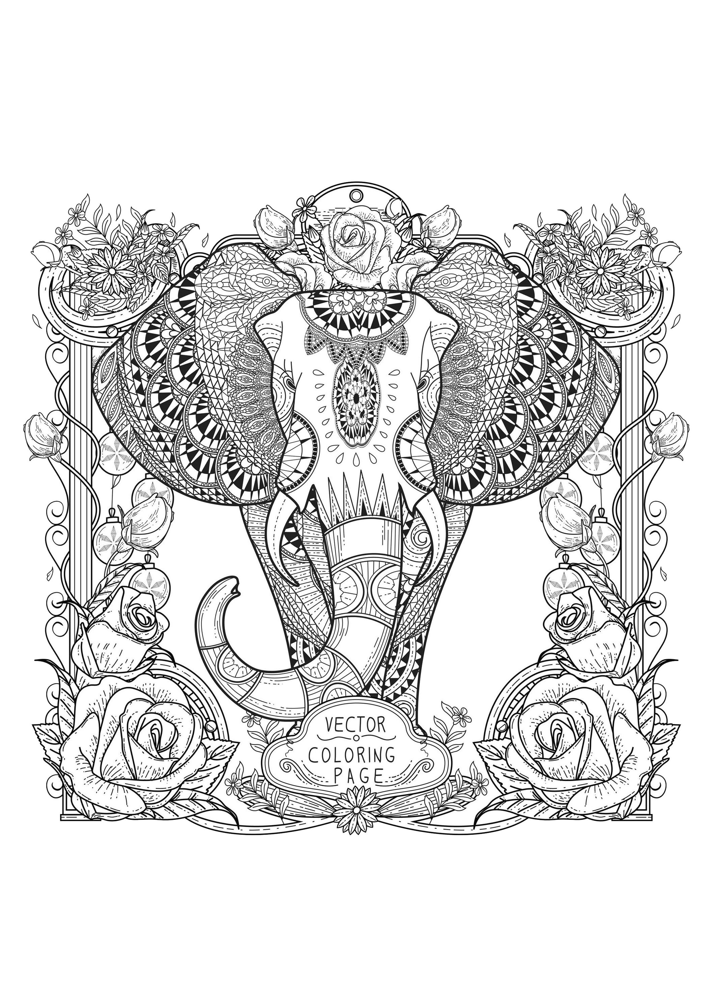Elephant With Complex Patterns Elephants Coloring Pages For