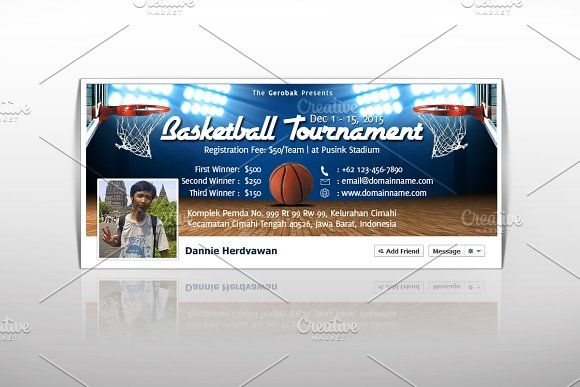 Basketball Tournament Facebook Cover by Ciusan on @creativemarket - cover template