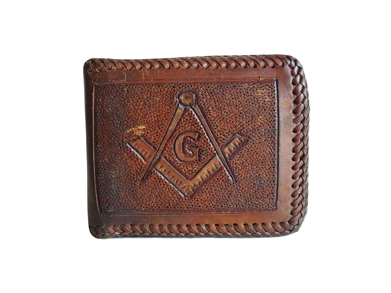 63b7e1104382 Vintage Masonic Leather Wallet, Tooled Leather w Masonic Square ...