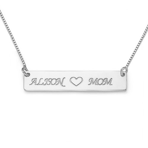 Personalized Engraved Mom Sterling Silver Necklace
