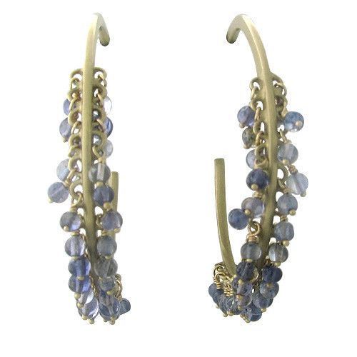 Me & Ro 10K Gold Sapphire Circle Drop Hoop Earrings