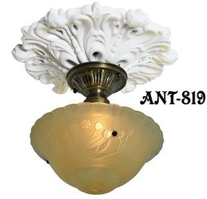 Antique Glass 3 Chain Ceiling Bowl Light Fixture Ant 819
