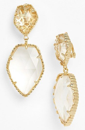 Kendra Scott Selma Stone Drop Clip Earrings Clear Crystal Gold