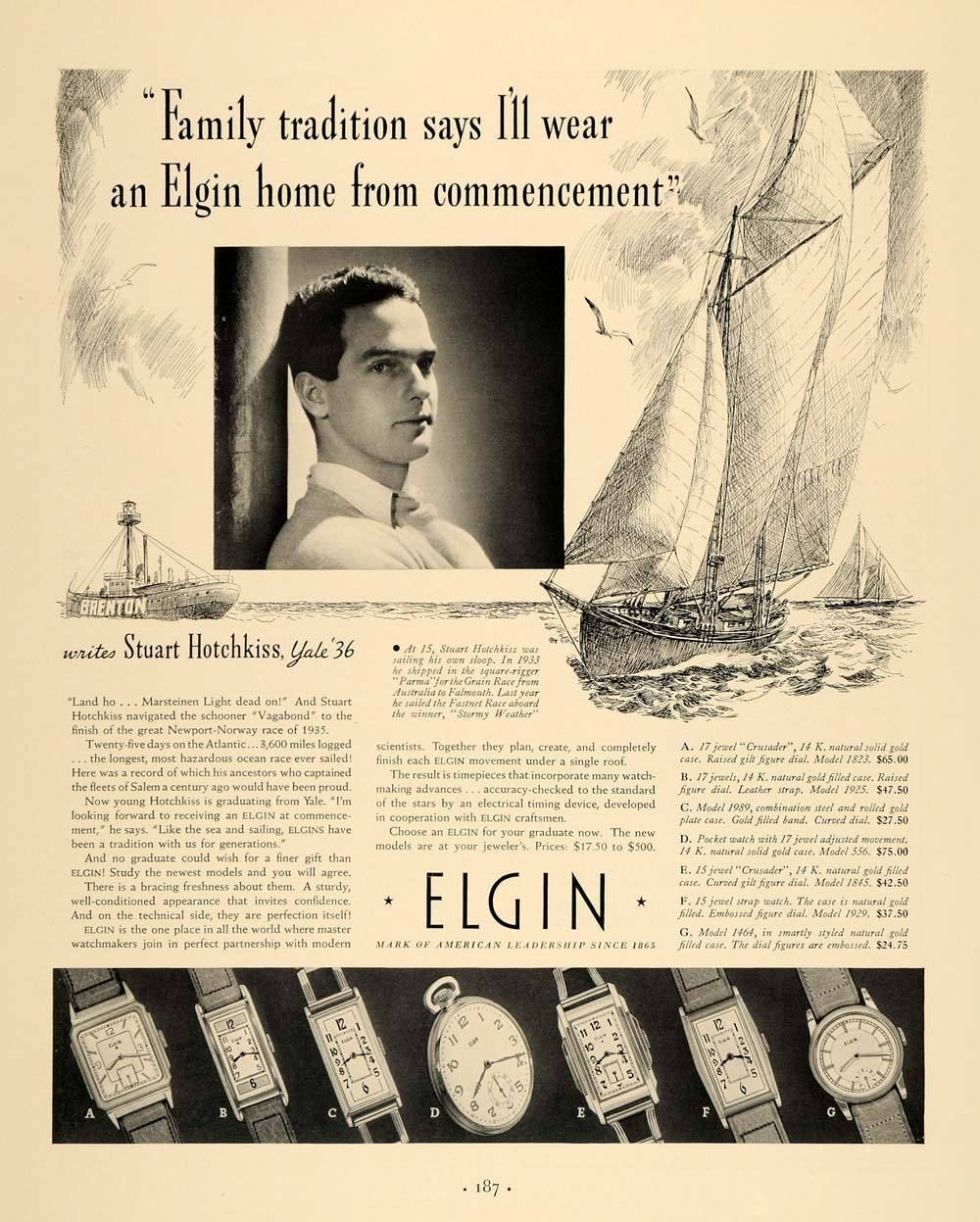 1936 Elgin Watch Company Ad featuring Hotchkiss Newport-Norway Race