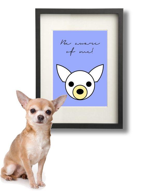 Arte e Decoro. Cane Chihuahua Disegno di LazyLittleLuckyGirl, €7.00