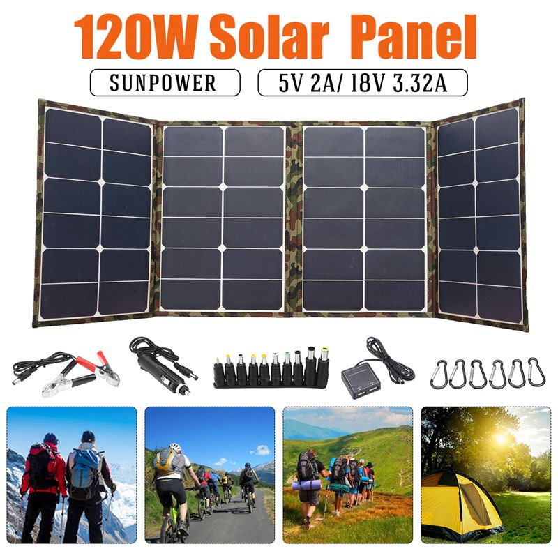 Us 139 64 120w 18v Dual Usb Sunpower Foldable Solar Panel Battery Charger Kits For Laptop Phone Rv Boat Camping Electrical Equipment Supplies From Tools In