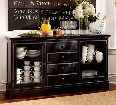 High Contrast with Black and White | Black buffet table, Black hutch ...