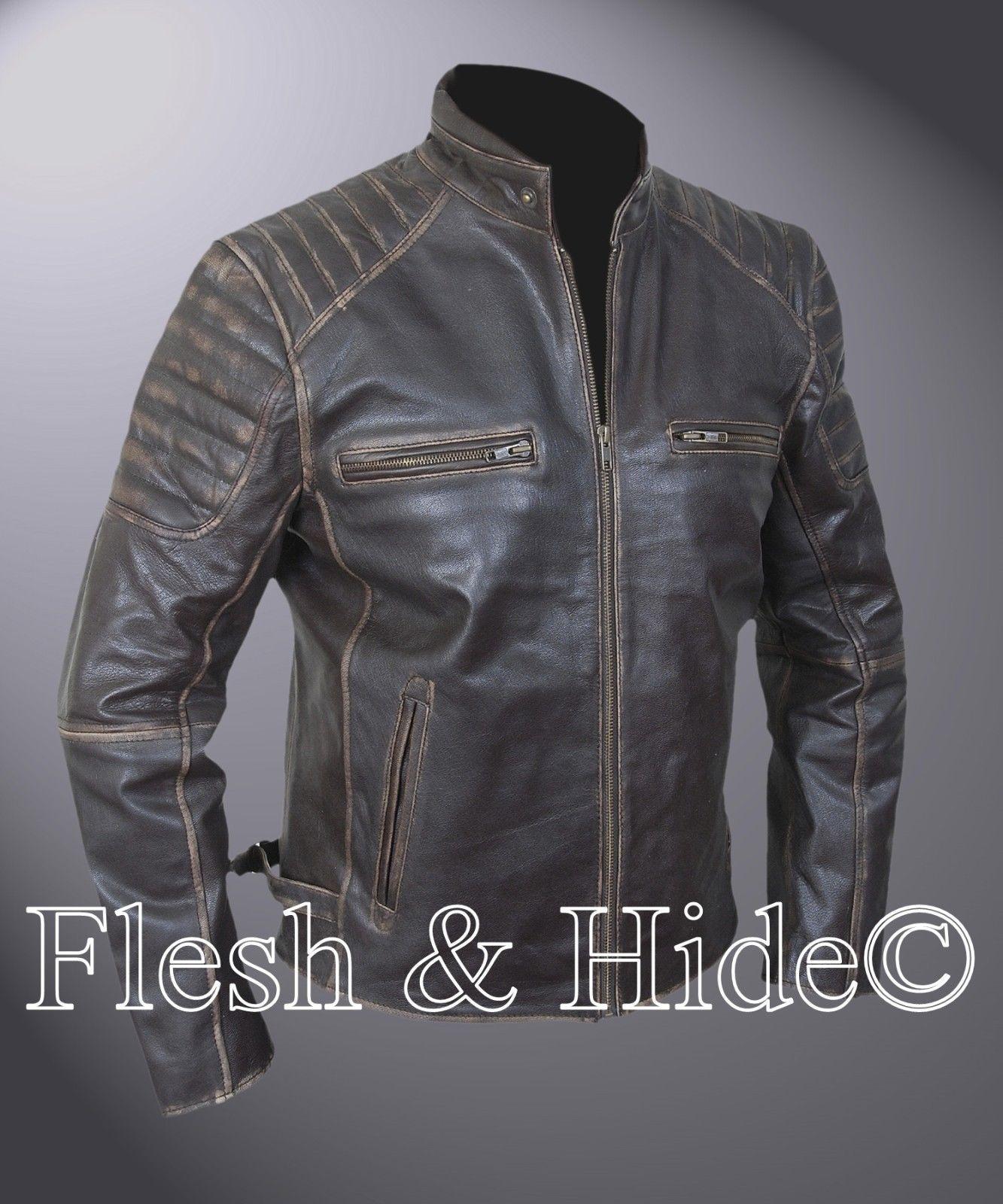 Genuine Cowhide Leather Buffed Brown Ribbed Cafe Racer Biker Motorcycle  Jacket 193b357c316