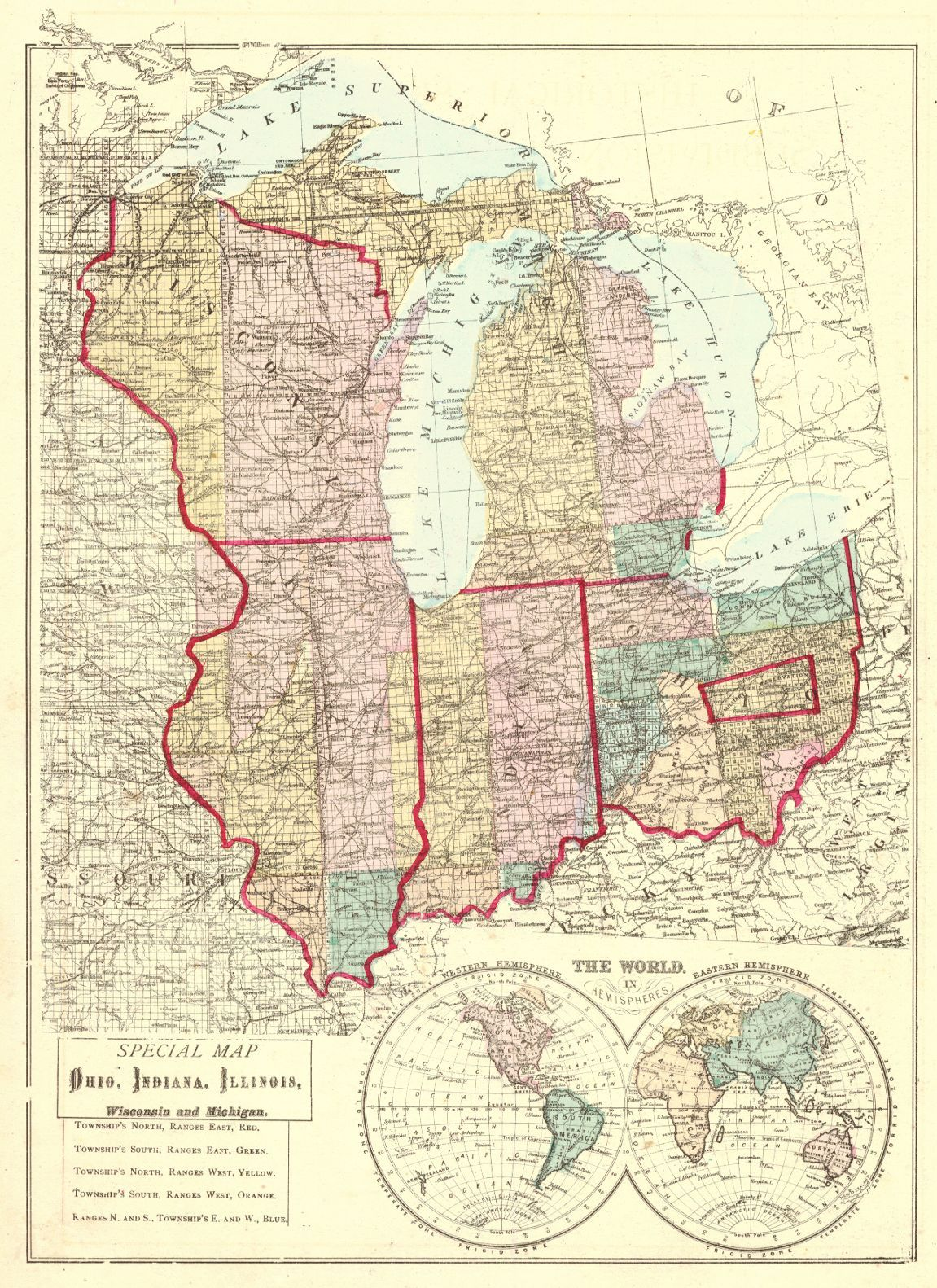 Map Antique Special Map Of Ohio Indiana Illinois Wisconsin And - Map of indiana and illinois