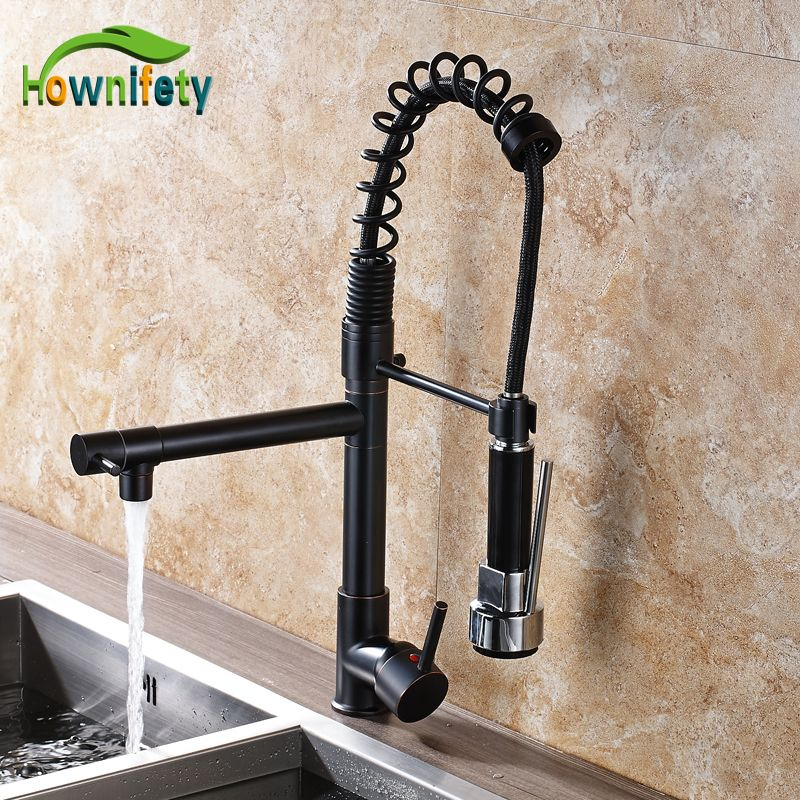 Reviews Oil Rubbed Bronze Spring Kitchen Sink Faucet Swivel Spout ...