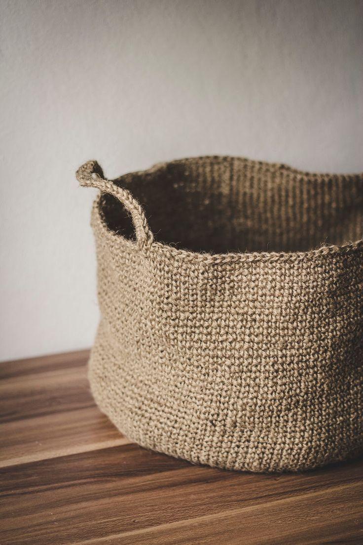 Diy Gehäkelter Korb Aus Paketschnur 籃 Pinterest Crochet