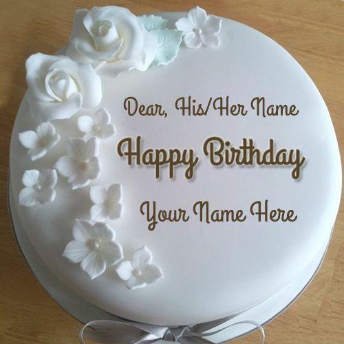 Astonishing Diamond Birthday Wishes Round Cake With Your Name Create Name Cake Personalised Birthday Cards Veneteletsinfo