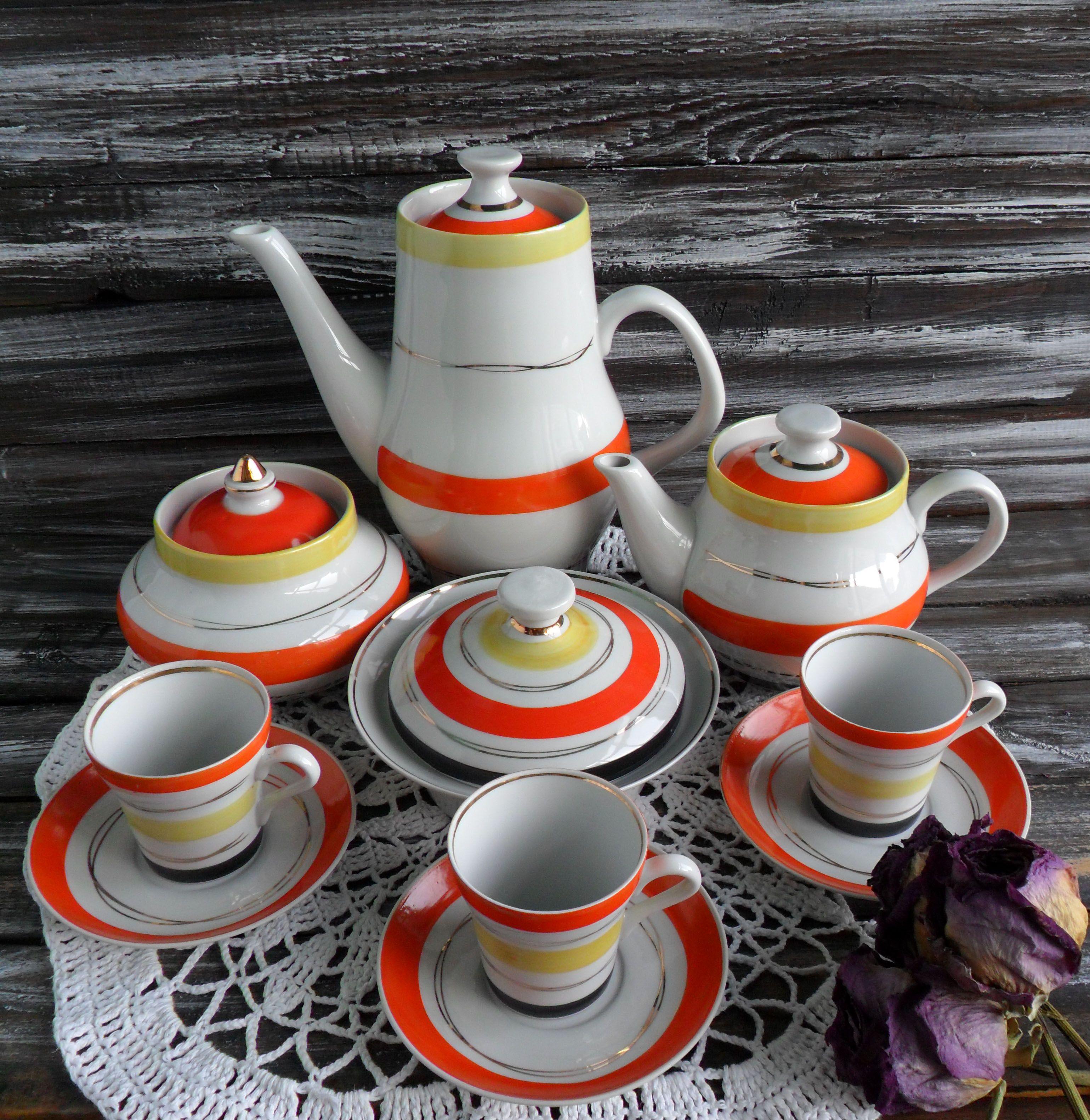 Sale vintage tea, coffee set of 3 cups, 3 saucers, 1