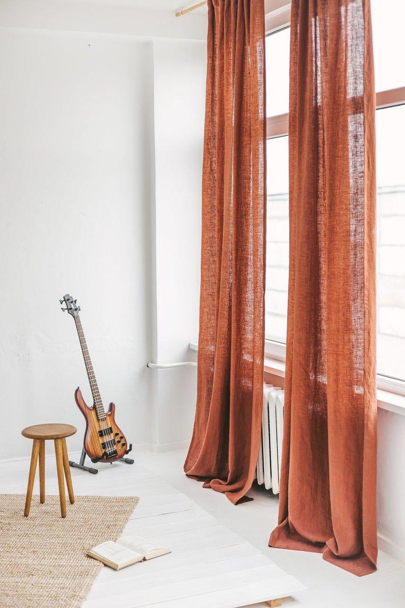 Extra Long Linen Curtain Rust Linen Window Drape Stonewashed