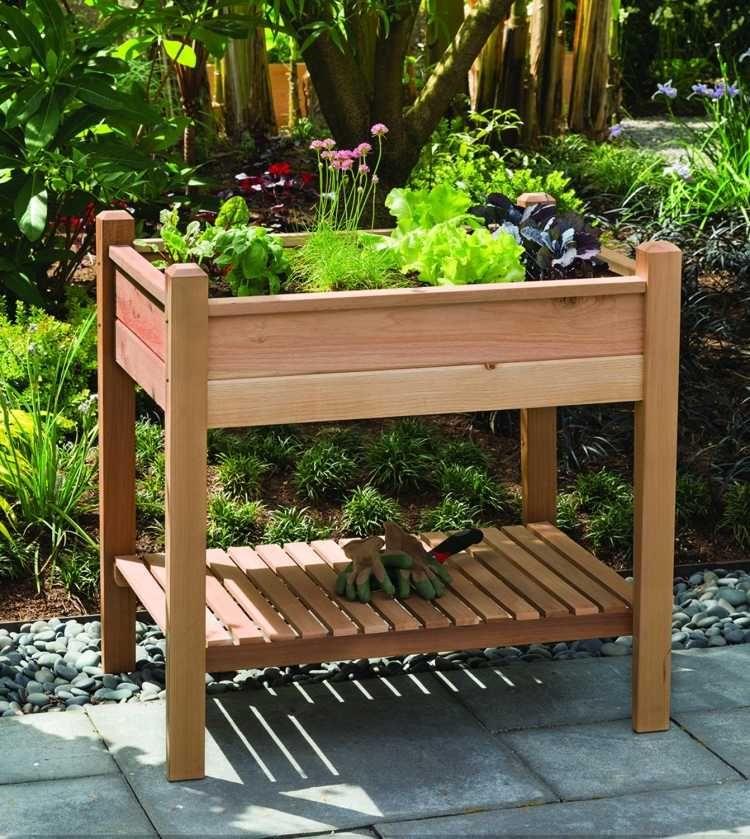 carr potager sur lev et bac fleurs sur pied fiche pratique jardin balcon pinterest. Black Bedroom Furniture Sets. Home Design Ideas