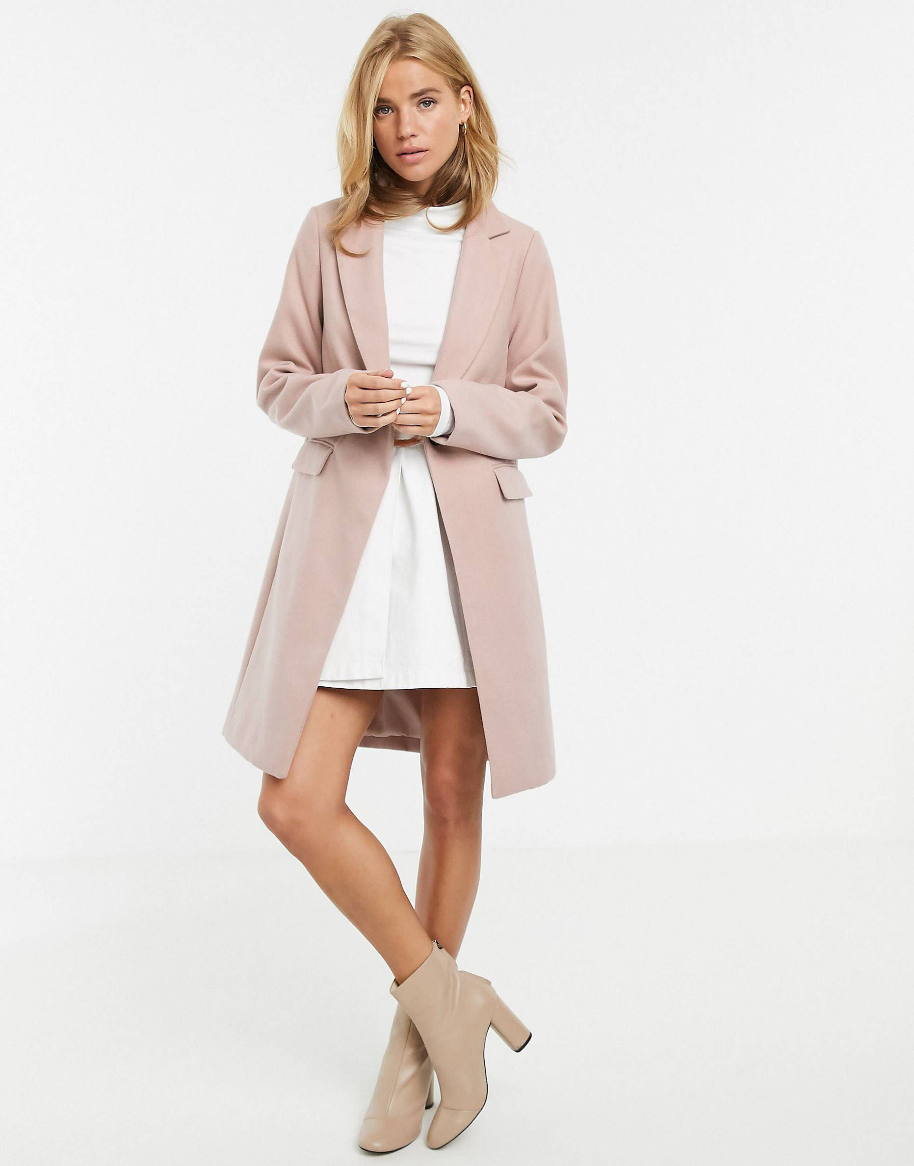 New Look button front coat in light pink in 2019   Coats for