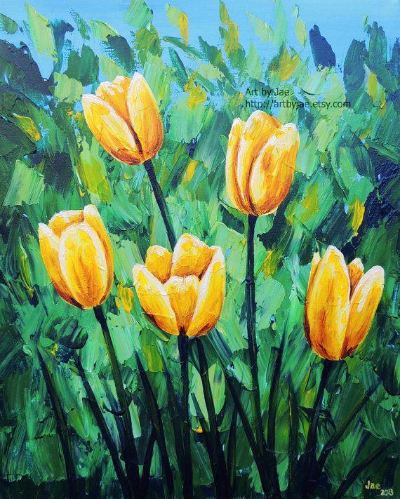 Yellow Tulips Painting Original Canvas Large Wall Art by artbyjae