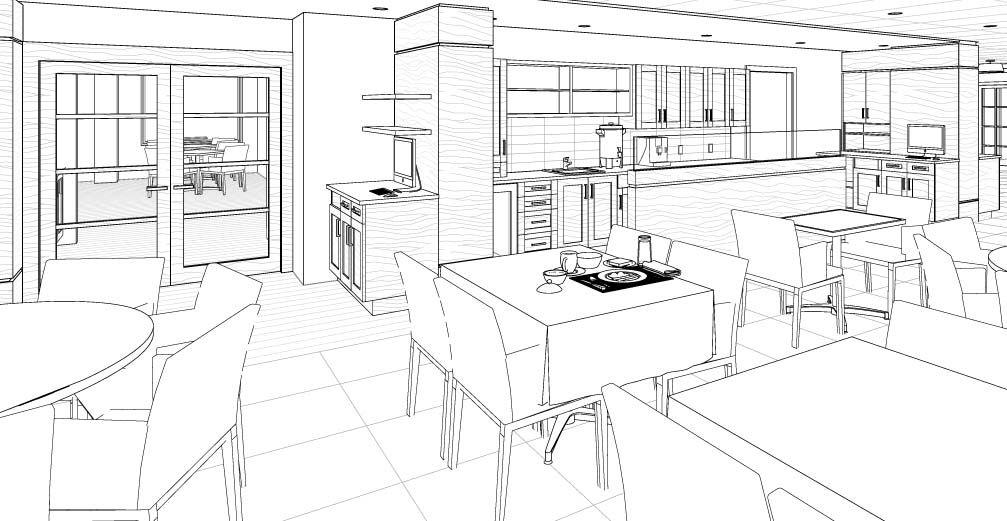 projet r sidence rive revit caf t ria am nagement int rieur multi habitation 3d. Black Bedroom Furniture Sets. Home Design Ideas