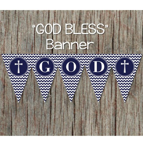 Holy Baptism Banner Printable Christening First Communion Decorations Navy Blue Chevron Instant Download Banner 088 Baptism Banner Christening Banner Printable Banner