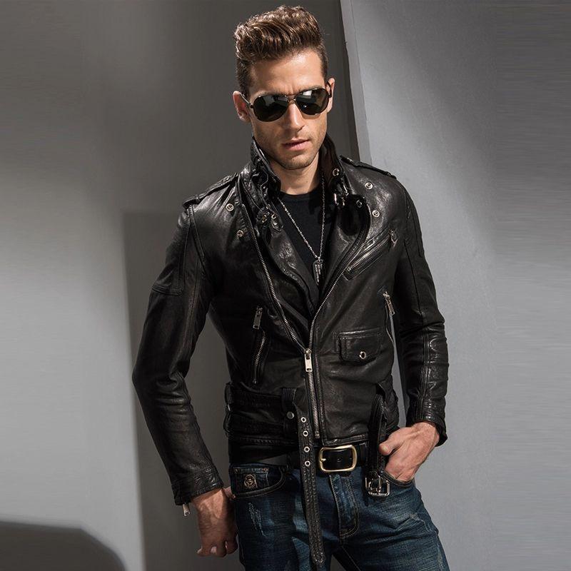 Mens Stylish Motorcycle Biker Genuine Lambskin Leather Jacket 229