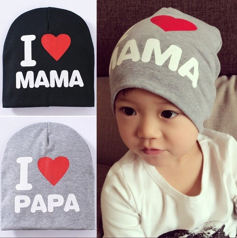 8ae479ab93a Baby Winter Cotton Hat Cap Soft and Cute Beanies I LOVE Papa Mama Toddler  Hat