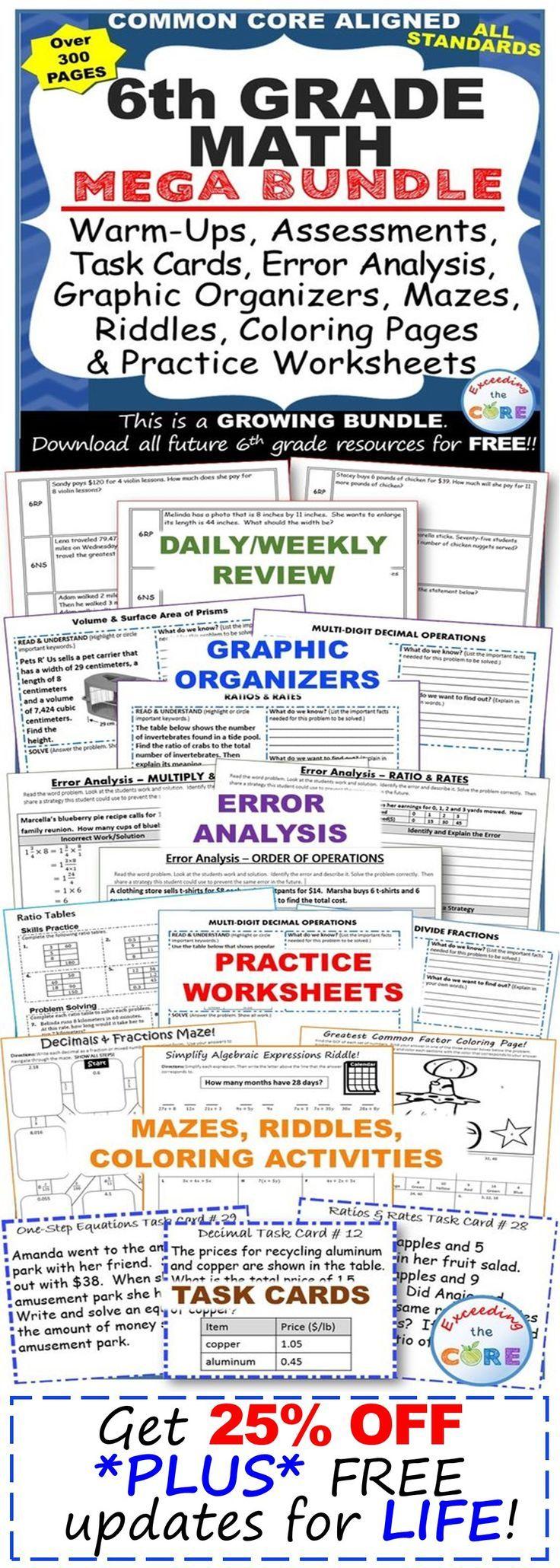 6th Grade Math Common Core Assessments Warm Ups Task Cards Error Analysis Task Cards Error Analysis 7th Grade Math [ 2060 x 736 Pixel ]
