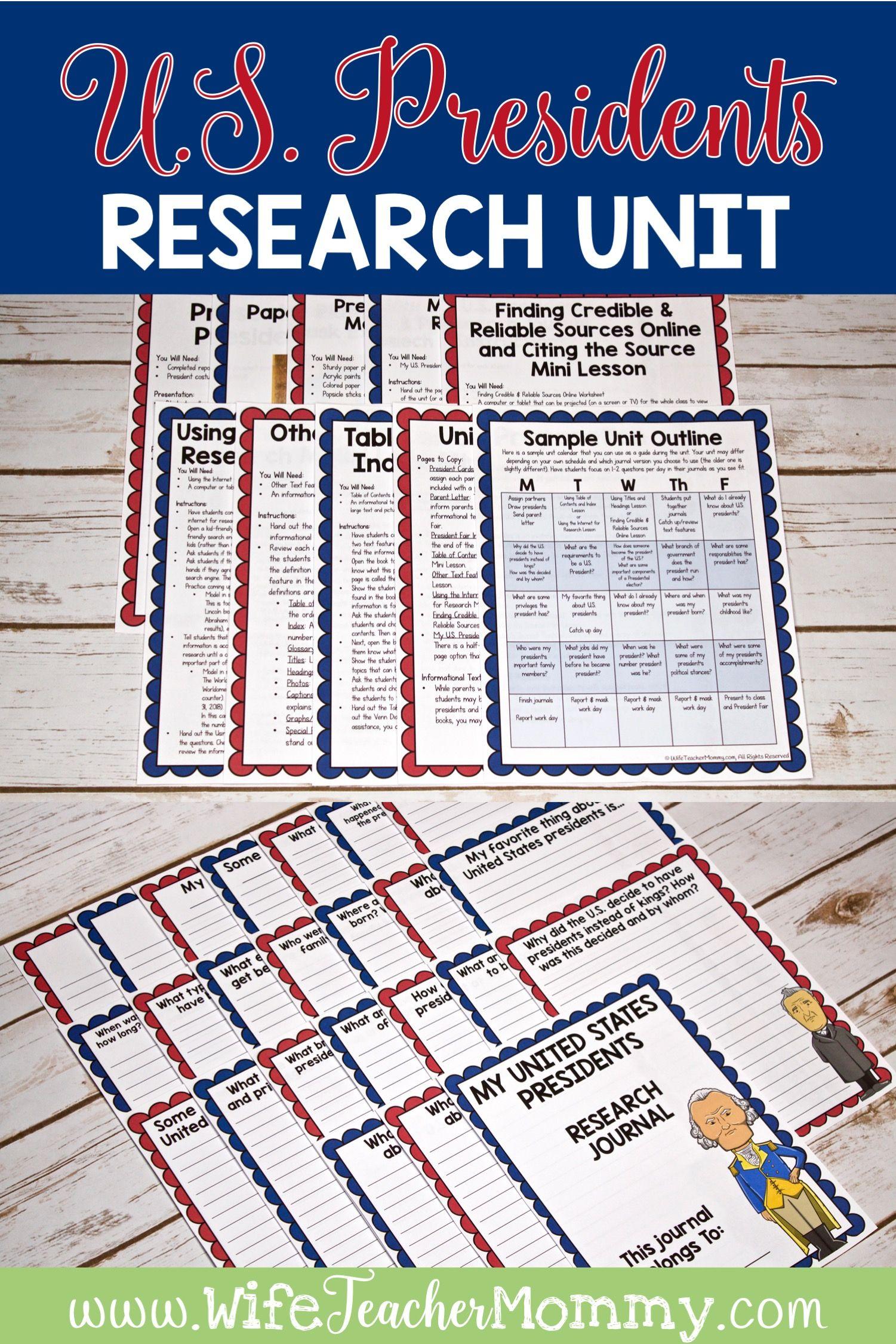 U S Presidents Research Unit Printable Bundle