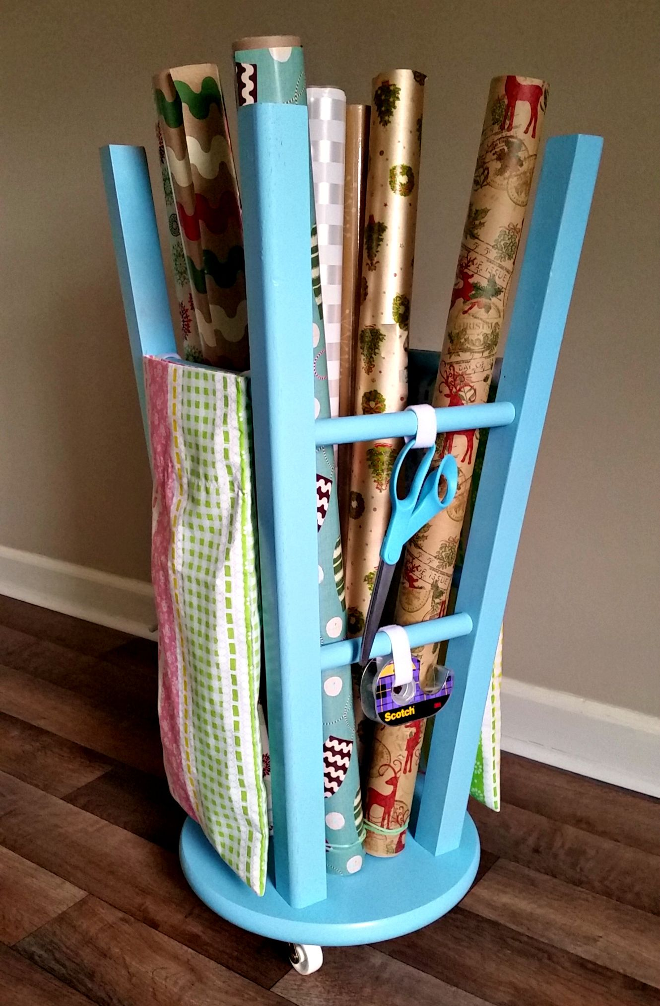 DIY Gift Wrap Station using a Repurposed Wooden Bar Stool