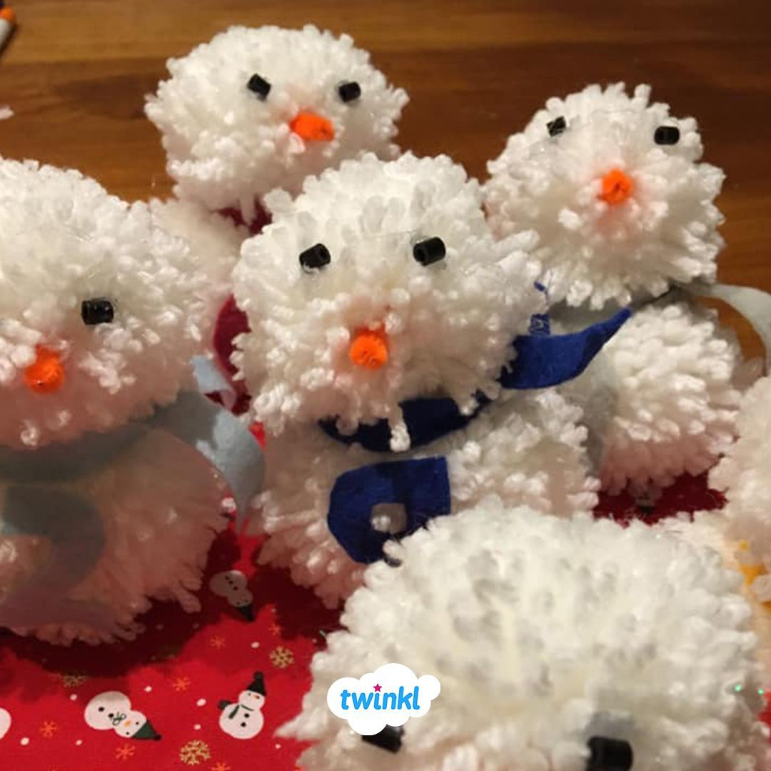 Make A Cute Pom Pom Snowman And Partner With Our Pom Pom