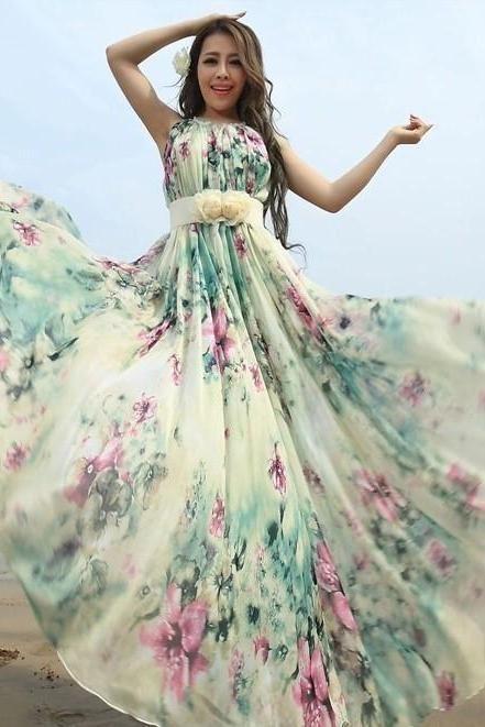 Summer Floral Long Beach Maxi Dress Lightweight Sundress Plus Size Summer  Dress Holiday Beach Dress Bridesmaid dress Long Prom Dress fa0155ed7