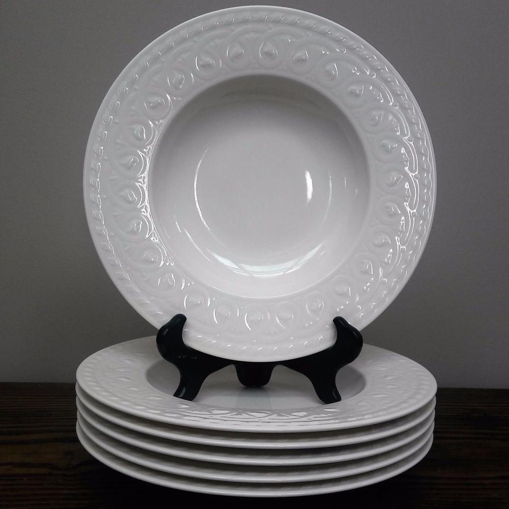 Villeroy Boch Cellini Rim Soup Bowls 6 Pieces Porcelain White 9 5
