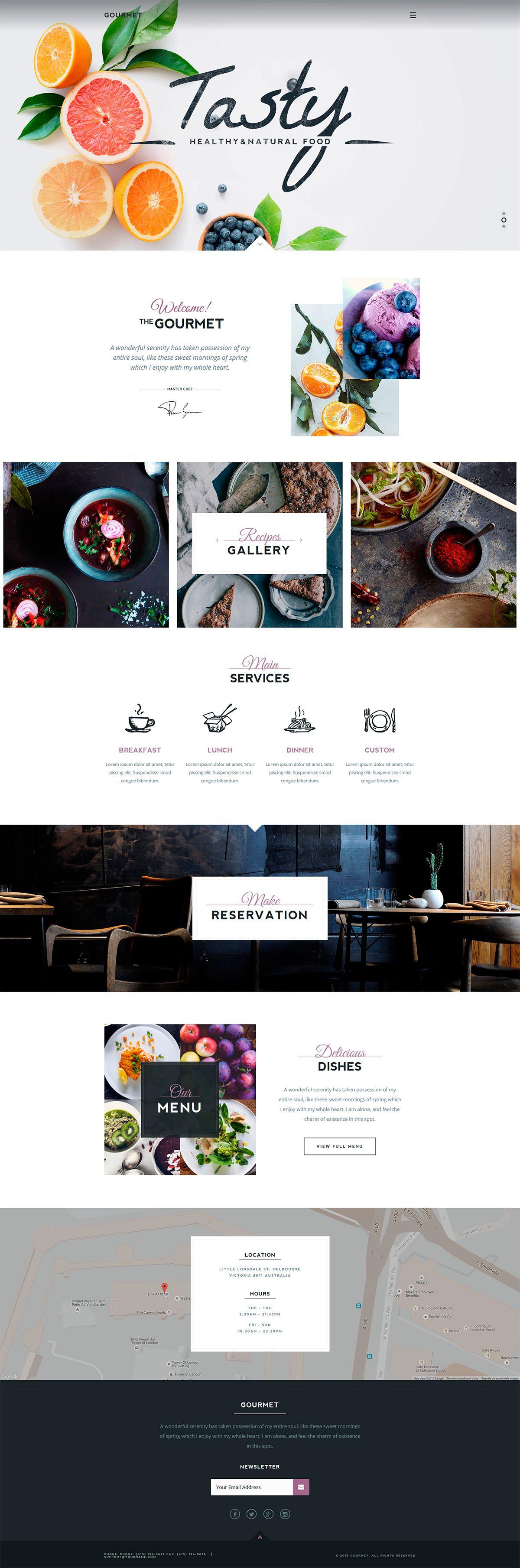 Gourmet restaurant cafe wordpress theme website