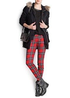 cfa42358a0 MANGO - PRENDAS - Pantalones - Pantalón pitillo cuadro escocés